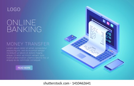 Online banking service concept, bills check from laptop screen, internet payment, computer with phone and plastic credit card, vector illustration