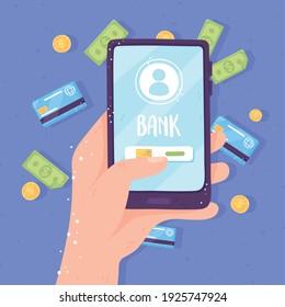 online banking smartphone app screen bank card coins and bills vector illustration
