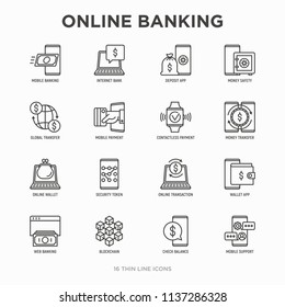 Online banking thin line icons set: deposit app, money safety, internet bank, contactless payment, credit card, online transaction, check balance, mobile support, blockchain. Vector illustration.