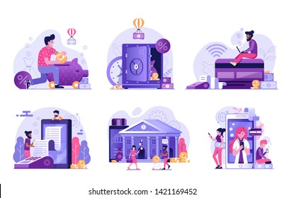 Online banking UI flat illustrations with money cashback, digital bank transaction, mobile payments, credit card and internet shopping concepts for finance management services and applications.