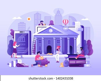 Online banking UI illustration with office people characters doing internet payments, transfers and deposits. Digital bank service fintech concept in flat design. Save money technology processing.