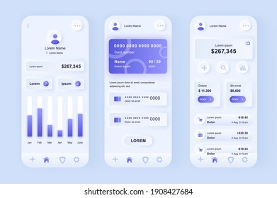 Online banking unique neomorphic design kit. Mobile wallet screens with financial analytics and balance. Financial management UI UX templates set. Vector illustration of GUI for responsive mobile app.