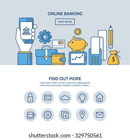 Online banking website hero image concept. One page website design with flat thin line icons.