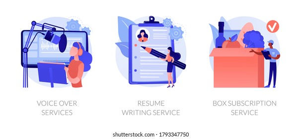 Online based jobs abstract concept vector illustration set. Voice over services, resume writing, box subscription, audio and video production, CV online, box delivery startup abstract metaphor.
