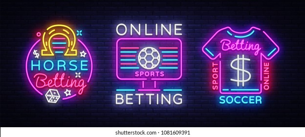 Online betting collection neon signs. Sports betting. Horse racing, Soccer, Online betting logo neon, light banner, bright night advertising, gambling, casino. Vector illustration