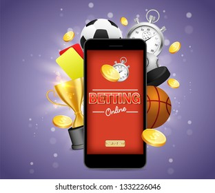 Online betting vector poster banner design template. Mobile phone and soccer basketball baseball balls, stopwatch, hockey puck, yellow and red referee cards, trophy award cup and dollar coins.