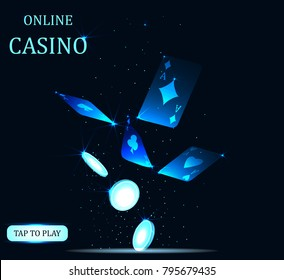 Online Big slots casino banner, tap to play button. Flying coins and poker cards. Screen for game. Vector illustration