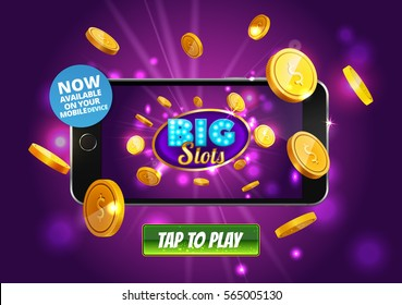 Online Big slots casino marketing banner, tap to play button. Mobile phone with screenshot of slots logo with flying coins, explosion bright flash, colored ads. Now on your mobile device. Vector
