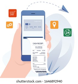 Online bill payment. Online banking, internet electronic bill receipt, protection money transaction, mobile bank. Bill payment concept of mobile payment, shoping, banking. Electronic invoice