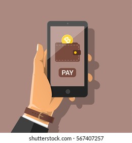 Online bitcoin payment concept. Hand holding smartphone with golden coin, wallet, button pay. Pay per click by virtual currency Flat vector cartoon illustration for business, web banners, sites design