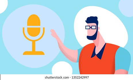 Online Blogging, Podcasting Vector Illustration. Blogger in Casual Clothes and Glasses Cartoon Character. Man Recording Podcast, Webcast. Public Broadcasting. Internet Radio Show. ASMR Blog