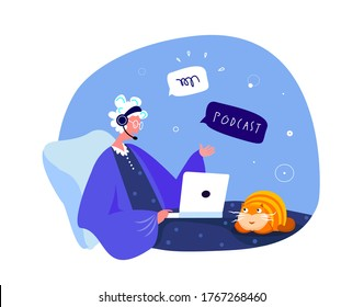 Online Blogging Podcast.Pensioner Retireв Old Woman in Headphones Talking on Microphone,Media Radio Host.Talking in Laptop Internet.Blogger Podcaster,Broadcaster Communication.Flat Vector Illustration