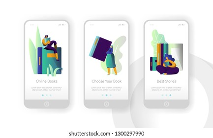 Online Book Library Modern Education Mobile App Page Onboard Screen Set. Digital Dictionary Reader. Woman Read Ebook Encyclopedia Concept for Website or Web Page. Flat Cartoon Vector Illustration
