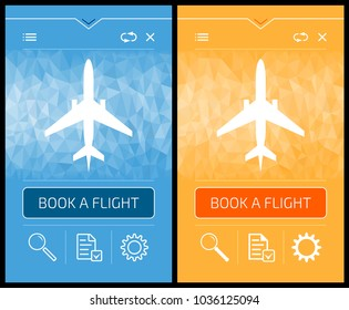 Online Booking Flight - Smartphone Screens. Vector graphic design of mobile application on the theme of 'Internet Services'.