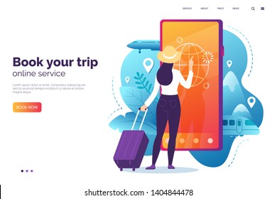 Online booking service vector illustration. Woman with luggage book travel on the smartphone. Trip planning. Online reservation of plane and train tickets. Concept for website or mobile app.