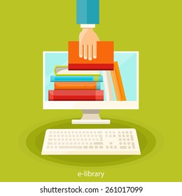 Online bookstore, online learning, digital library,  e-reading concept. Vector flat  illustration.