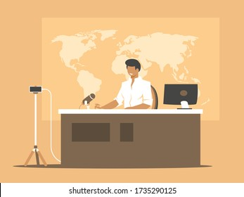 Online broadcasting presenter. Anchorman on home studio background. Broadcast news using a smartphone
