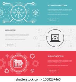 Online Business 3 Horizontal Webpage Banners Template With Affiliate Marketing Bandwidth SEO Copywriting Concept