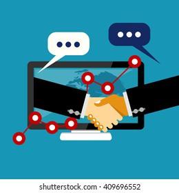 Online business deal. Business deal handshake. Cooperation or partnership.