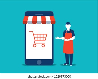 Online business and e-commerce concept. Shop owner standing next to his shop. Eps10.