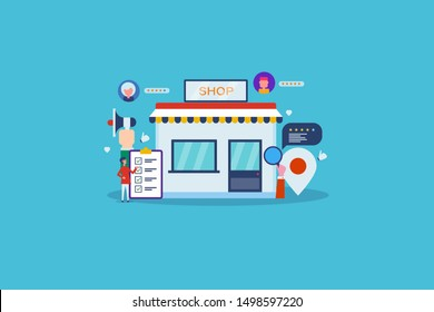 Online business, E-commerce shopping, market place, business reputation - flat design vector banner with icons and characters