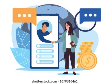 Online business handshake or closing of a deal with a businessman reaching from an app on a mobile phone to shake the hand of a woman with gold coins alongside her, vector illustration