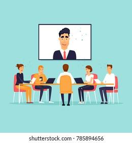 Online business meeting. Flat design vector illustration.