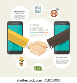 Online Business partnership connection concept. Businessmen shaking hands on mobile and business Infographics style.