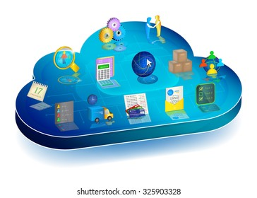 Online business process managing in cloud application.Concept. Icons: Accounting, Inventory, Client Relationships, Electronic Document Interchange, Banking, Logistics, Scheduler, Personnel Management.