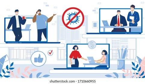 Online Business Relationship after Covid19 Epidemic Stop. Internet Marketing and Ecommerce. Remote People Cooperation Organization and Company Management on Laptop. Digital Information Technology