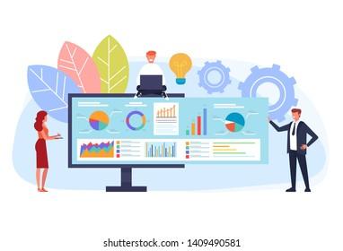 Online business strategy concept. Vector flat graphic design cartoon illustration