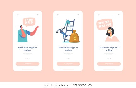 Online Business Support Mobile App Page Onboard Screen Template. Call Center or Customer Service Staff in Headset Working with Businesspeople Characters Concept. Cartoon People Vector Illustration - Shutterstock ID 1972216565