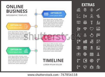 online business timeline infographic template elements stock vector