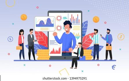 Online Business Training, Coach or Forex Expo Metaphor. Coacher or Teacher on Phone Screen with Graphs and Charts Conducting Trade Course for Businesspeople Crowd. Flat Vector Illustration