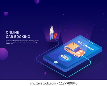 Online Cab Booking landing page or web template with isometric illustration of cab booking app in smartphone with pick up and drop facility.