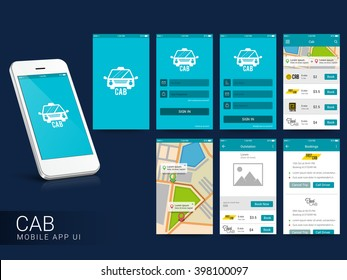 Online Cab Mobile App UI, UX and GUI Screens including Sign In, Cab Booking, Map Navigation and Destination features for responsive websites and e-commerce business concept.