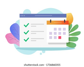 Online calendar web task to do list and important deadline date or website internet scheduled finished events appointment notice vector flat illustration, digital agenda icon modern colorful icon