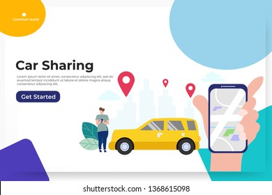 Online car sharing with cartoon character and smartphone, can use for, landing page, template, ui, web, mobile app, poster, banner, flyer