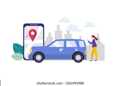 Online car sharing, mobile city transportation vector illustration concept with smartphone for web landing page template, banner, flyer and presentation.