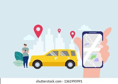 Online car sharing, mobile city transportation vector illustration concept with smartphone for web landing page template, banner, flyer and presentation.
