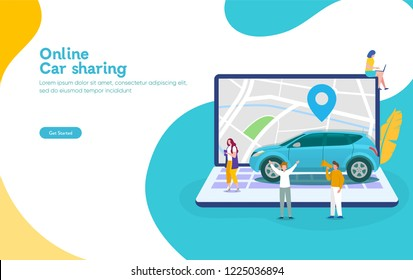 Online car sharing vector illustration concept, mobile city transportation with cartoon character and use smartphone,  can use for, landing page, template, ui, web, mobile app, poster, banner, flyer