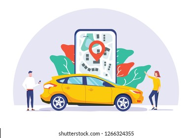 Online car sharing vector illustration concept, mobile city transportation with cartoon character and use smartphone, can use for landing page, template, ui, web, mobile app, poster banner or flyer