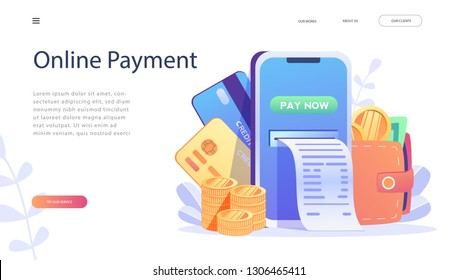 Online Card Payment Concept ,Easy Payments with People Characters. Easy Edit and Customize, Money transfer, Mobile Wallet concept for banner, mobile app, landing page, presentation