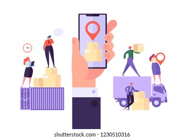 Online Cargo Delivery Mobile App Tracking Service. Worldwide Logistic Delivery Concept with Courier Characters. Workers in Uniform with Parcels. Vector illustration