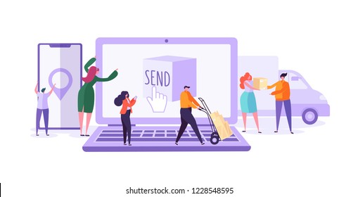 Online Cargo Delivery Tracking Web Site Service. Worldwide Logistic Delivery Concept with Courier Characters. Workers in Uniform with Parcels. Vector illustration