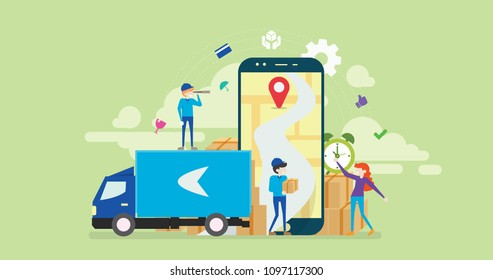 Online Cargo Tracking Delivery Application Tiny People Character Concept Vector Illustration, Suitable For Wallpaper, Banner, Background, Card, Book Illustration, Web Landing Page