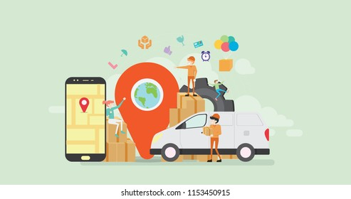 Online Cargo Tracking Delivery Application Tiny People Character Concept Vector Illustration, Suitable For Wallpaper, Banner, Background, Card, Book Illustration, And Web Landing Page