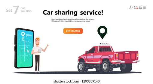 Online carsharing. Map on screen smartphone. Man and truck rent. Mobile city transportation concept,  Online car sharing with cartoon character and screen smartphone, can use for web design