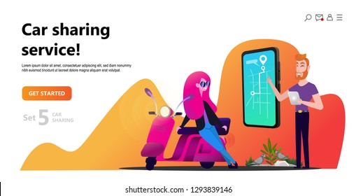 Online carsharing. Woman and scooter rent. Mobile city transportation concept,  Online car sharing with cartoon character and screen smartphone, can use for web design, landing page, ui, template.