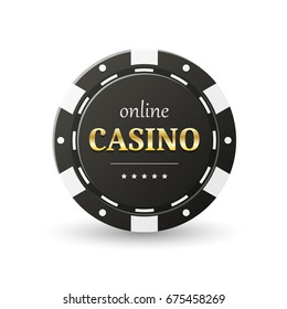 Online casino banner. Black chip, isolated on white. Gambling concept, poker mobile app icon. Vector design.